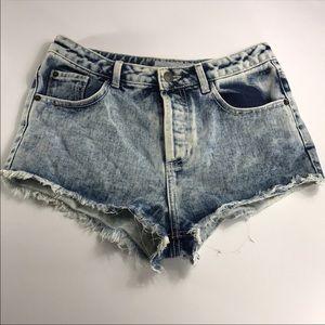 Topshop Moto acid wash frayed jean shorts